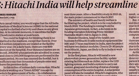 Business Standard covers Hitachi India's 'Green AIIMS' project