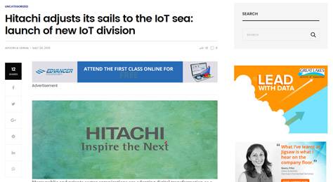 Hitachi adjusts its sails to the IoT sea: launch of new IoT division
